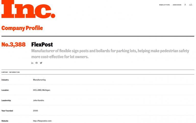 Inc 5000 Rankings - FlexPost No. 3,388