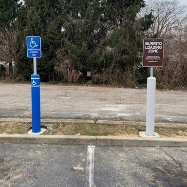 FlexPost ADA and Curbside Pickup Signpost Installation - Chipotle Mexican Grill