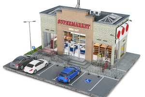 Supermarket building on a piece of ground, 3d illustration